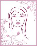 Girl face with floral background Stock Photo