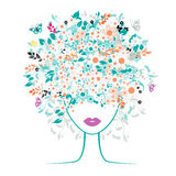 Girl face, floral hairstyle royalty free illustration