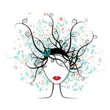 Girl face, floral hairstyle Stock Image