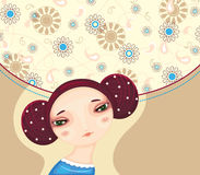 Girl Face Flower Cove. Face of the young beautiful girl on a decorative flower background Royalty Free Stock Photo