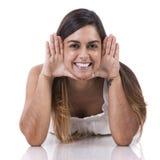 Girl face framing Stock Photos