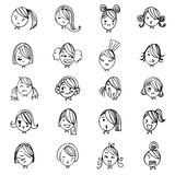 Girl face hand drawing sketch vector set on white background Stock Image