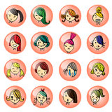 Girl face hand drawing sketch vector set on white background Stock Images