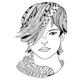 Girl face Hand drawn sketched  illustration. Doodle woman face graphic with ornate pattern. Design Isolated on white. Royalty Free Stock Photos