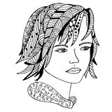 Girl face Hand drawn sketched  illustration. Doodle woman face graphic with ornate pattern. Design Isolated on white Stock Image