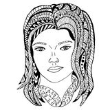 Girl face Hand drawn sketched  illustration.te pattern. Design Isolated on white. Doodle girl face graphic with ornate pattern. Design Isolated on white Stock Image
