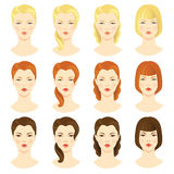 Girl face. Illustrations of beautiful young girls with various hair styles Stock Photography