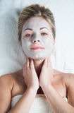 Girl with face mask Stock Photo