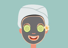 Girl with face mask relaxing Stock Photo