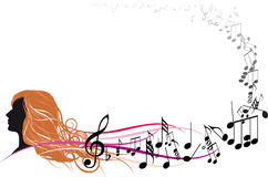 Girl Face with Music notes. Twisted into frame Royalty Free Stock Images