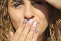 Girl face nails portrait stock photo