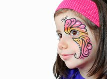 Girl with face paint on white background. Pretty girl with face painting isolated on white background royalty free stock images