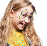 Girl with face painting. Child with body art stock photography
