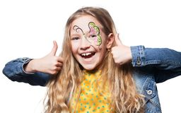 Girl with face painting isolated stock images