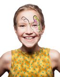 Girl with face painting isolated royalty free stock photo