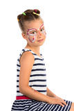 Girl With Face Painting. Little Girl With Abstract Face Painting, Isolated stock photos