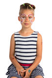 Girl With Face Painting. Little Girl With Abstract Face Painting, Isolated royalty free stock images