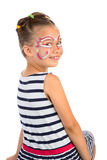 Girl With Face Painting. Little Girl With Abstract Face Painting, Isolated royalty free stock photos