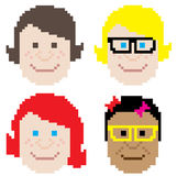 Girl face pixel art Stock Images