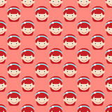 Girl face portrait expression cute teenager cartoon character little kid flat seamless pattern vector illustration. Royalty Free Stock Photography