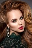 Girl face with a professional stunning makeup. Red lips, false e royalty free stock photo