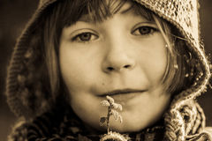 Girl with frozen leaf Stock Image