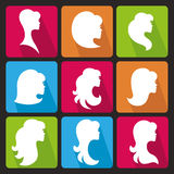 Girl face silhouette.Profiles Hair style.Icons set. Girl Profiles face silhouette set,icon with long shadow,buttons.Beautiful Woman Hair style , head.For Logo Royalty Free Stock Photo