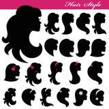 Girl face silhouette set.Profiles Hair style.Logo. Girl Profiles  face silhouette set,icons.Beautiful Woman Hair style ,isolated head.For Logo,logotype,sticker Royalty Free Stock Images
