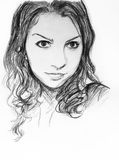 Girl face sketch Royalty Free Stock Images