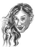 Girl face sketch Stock Photos
