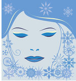 Girl face with snowflakes Stock Photo