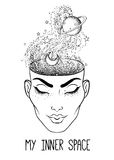 The girl face with the space inside her head. Dotwork tattoo fla Stock Photos