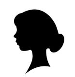Girl face vector silhouette Royalty Free Stock Photography