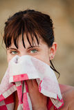 Girl face with wet hair. Wiping with towel Stock Images