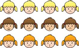 Girl Faces. A variety of girl facial expressions and hair color Stock Photography