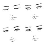 Girl faces. Set of black vector line art girl faces isolated over white Royalty Free Stock Image