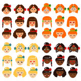 Girl faces emotions collection Stock Photo