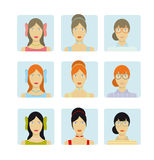 Girl faces icon set Stock Photos