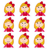 Girl faces showing different emotions Stock Image