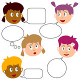 Girl Faces with Speech Bubbles. Collection of five girl faces with speech bubbles, isolated on white background. Eps file available royalty free illustration