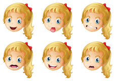 Girl faces with various expressions Royalty Free Stock Photo