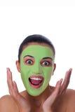 Girl with facial mask Stock Photos