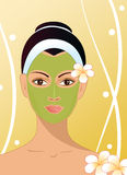 Girl with facial mask vector illustration Stock Photo