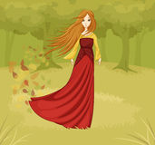 Girl in a fairy tale forest Royalty Free Stock Photos