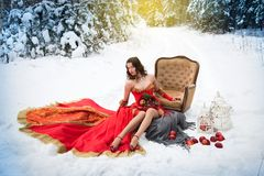 A girl in a fairy-tale image of a queen poses in a snow-covered winter forest. Stock Photos