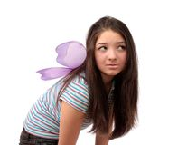 Girl the fairy about wings. Royalty Free Stock Photos