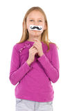 Girl with a fake mustache Royalty Free Stock Photo