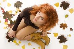 Girl in fall dress Stock Photo