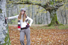 Girl fall forest Stock Images