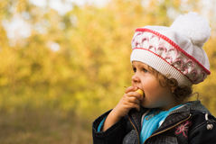 Girl in the fall garden Royalty Free Stock Photography